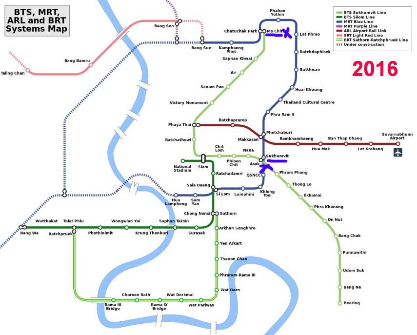 Übersicht der öffentlichen Bahnen Bangkok