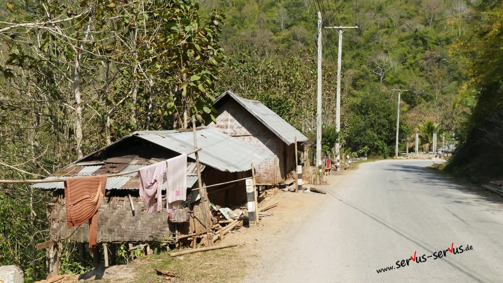 Einfachen-Bambushütte-Laos