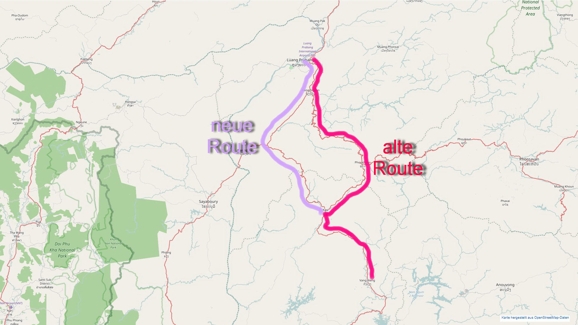 Route nach Vang Vieng