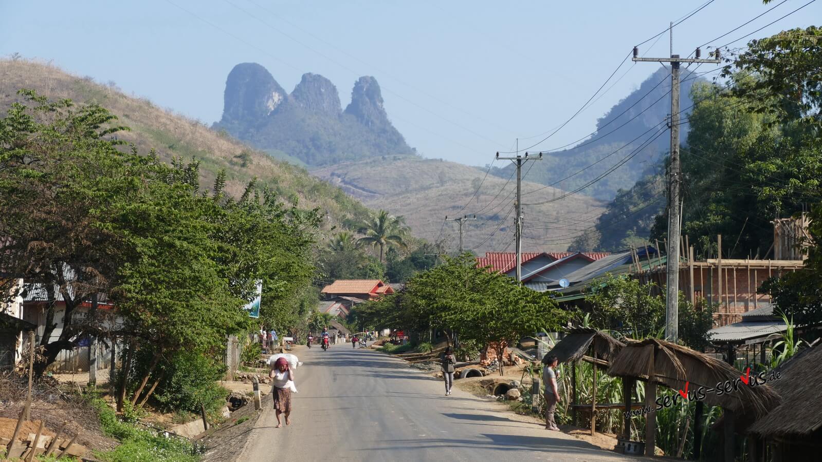 Laos, kartberge, straße