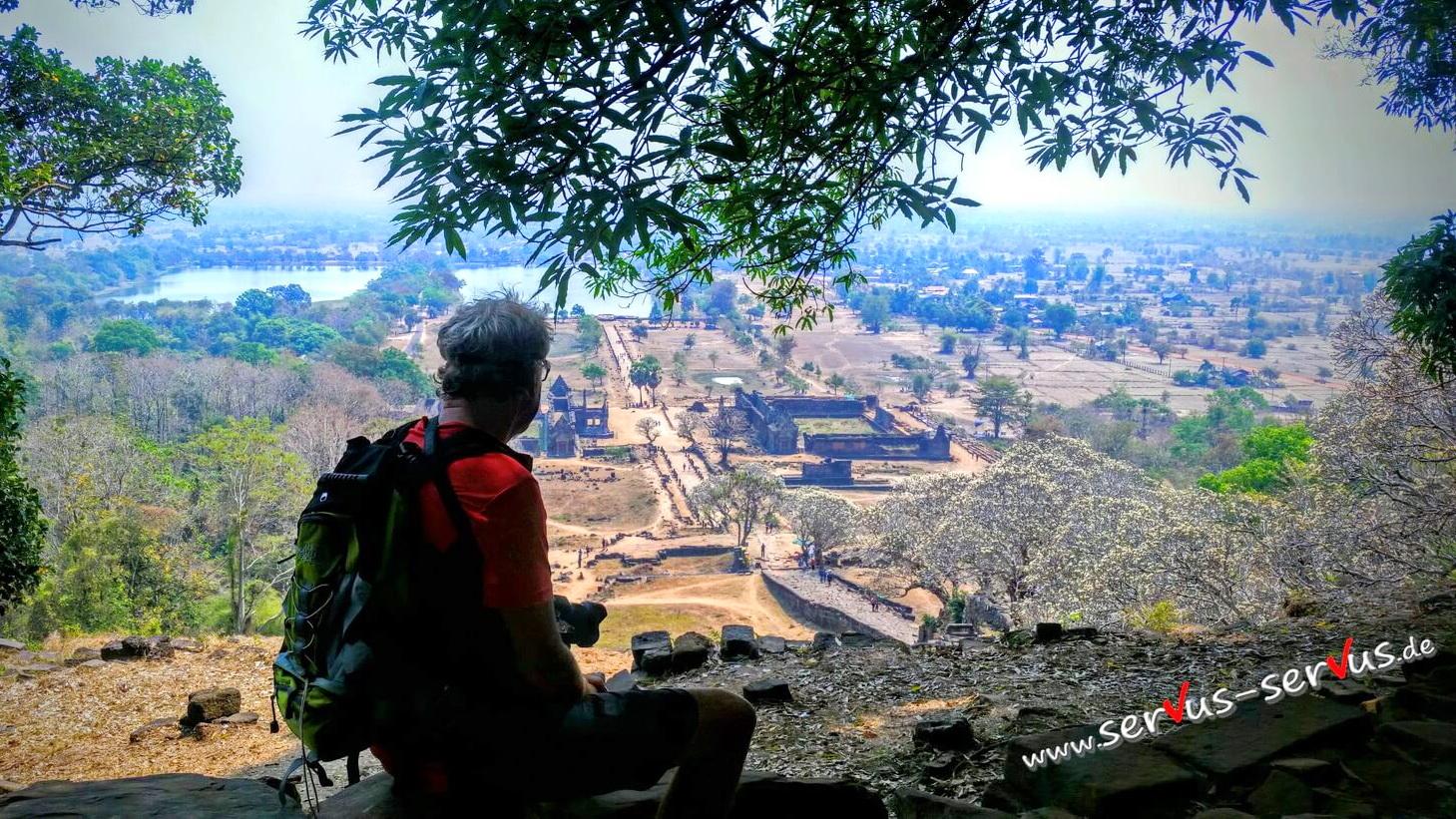 Blick auf Vat Phou von oben, Laos, Champasak