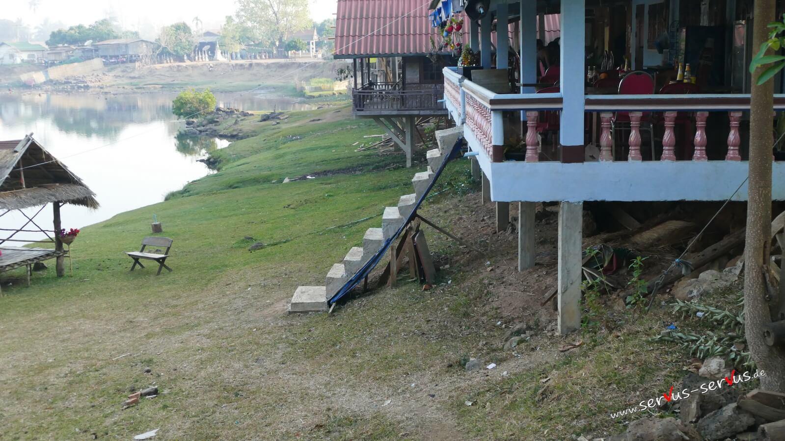 abenteuerliche Treppe in Tad Lo, Laos, Bolavenplateau