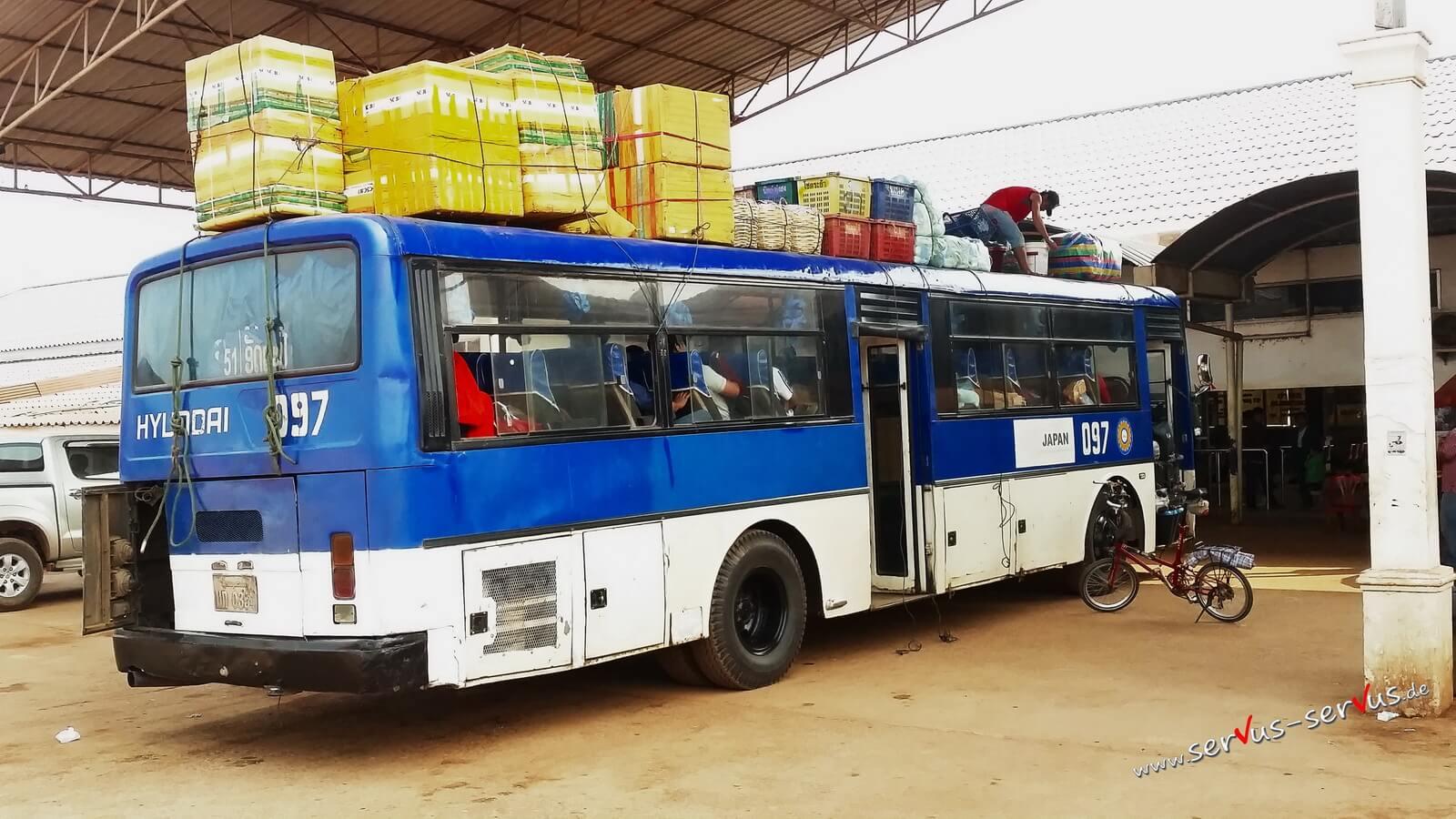 Bus, bahnhof, Vientiane, laos