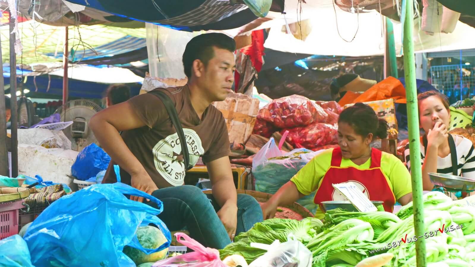 Gemüsemarkt, laos, vientiane