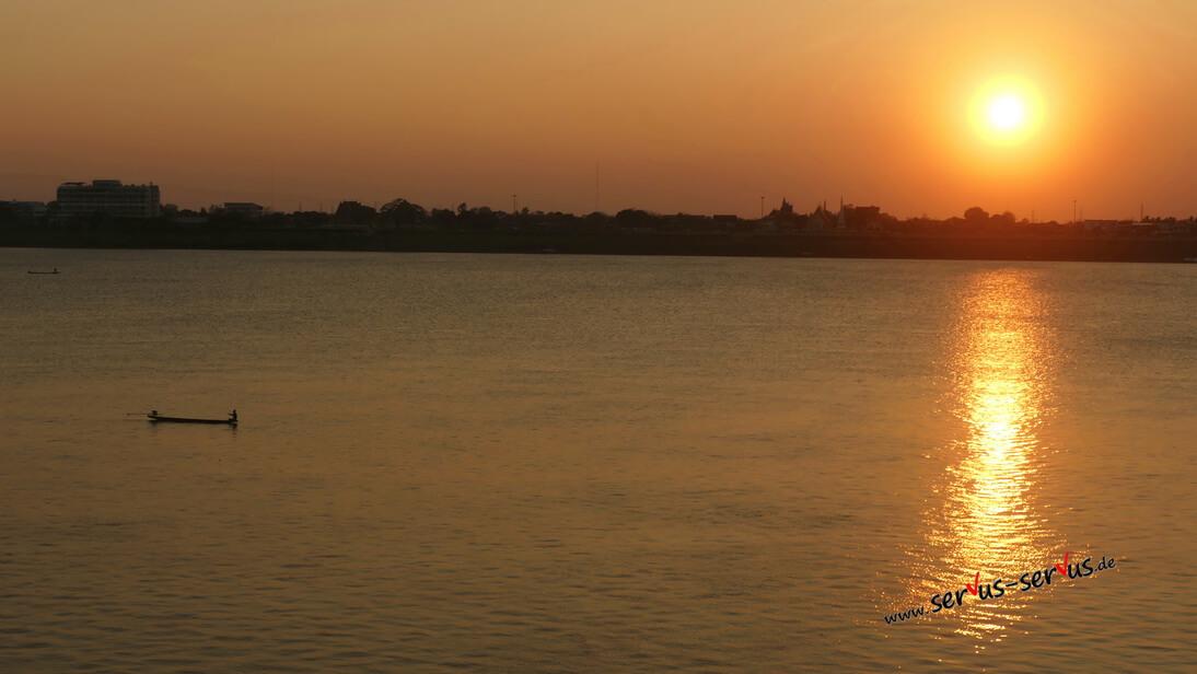 Sonnenuntegang, Mekong, Thakhet