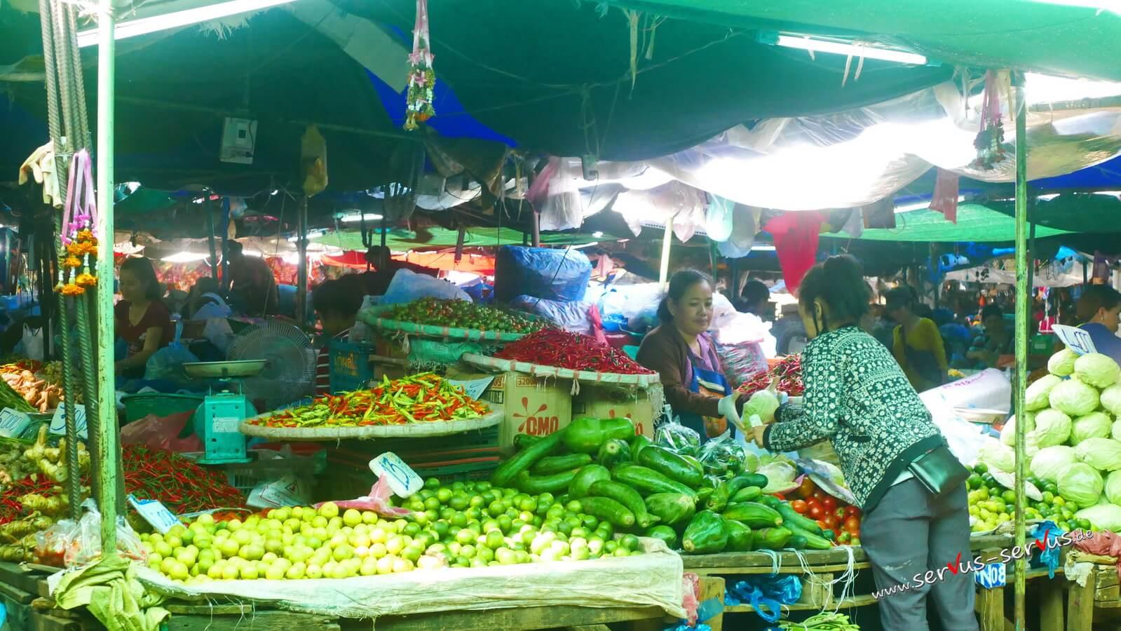 Gemüsemarkt, laos, vientiane, gurken