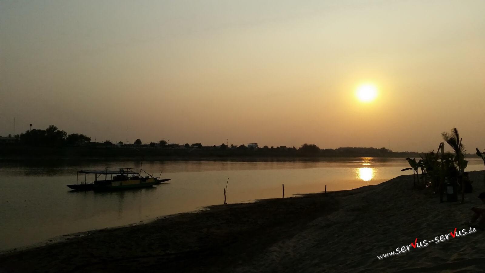 sonnenuntergang, mekong, laos, vientiane