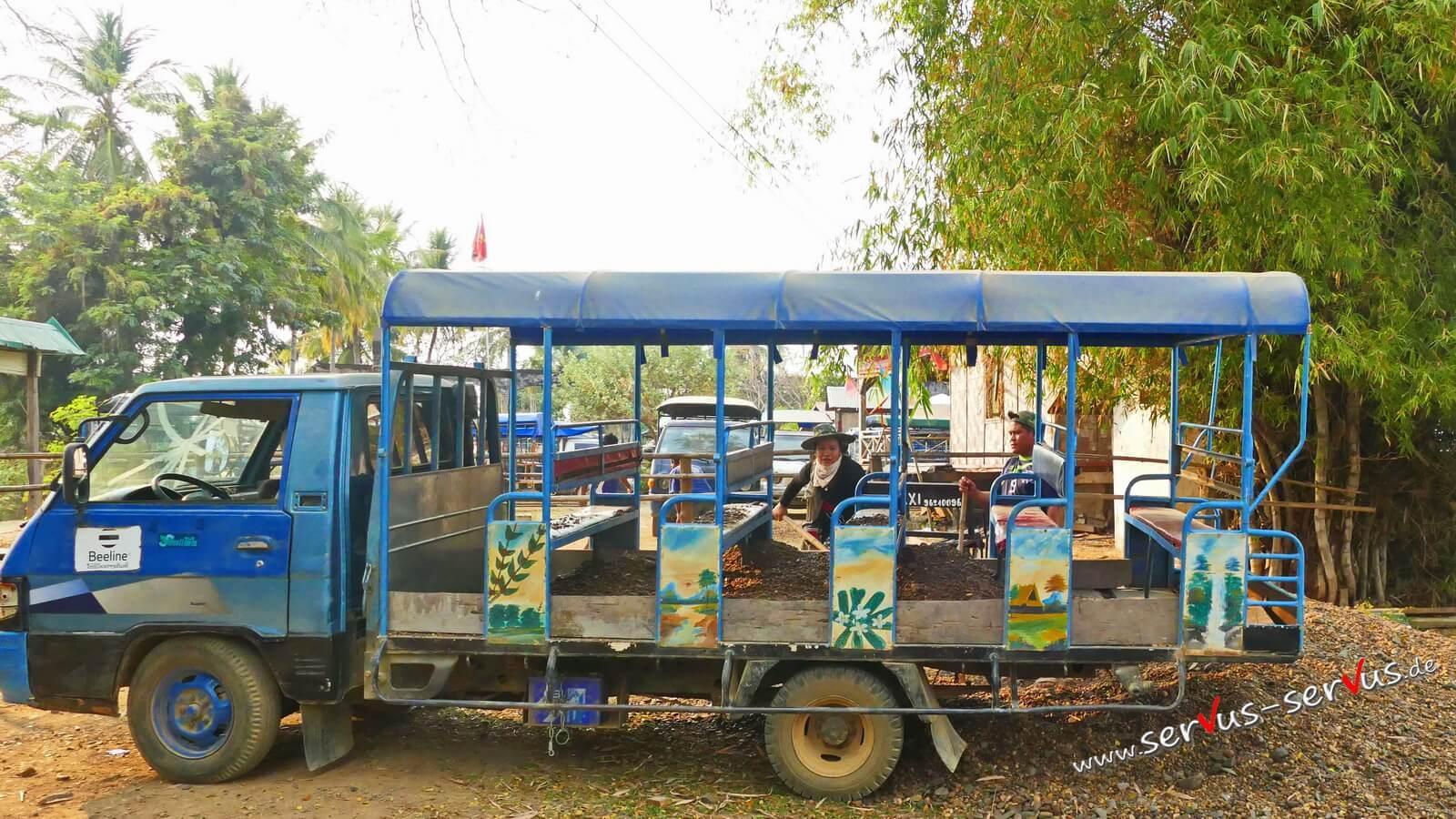 Don Det, 4000 Inseln, Laos, Minibus, Kieslaster