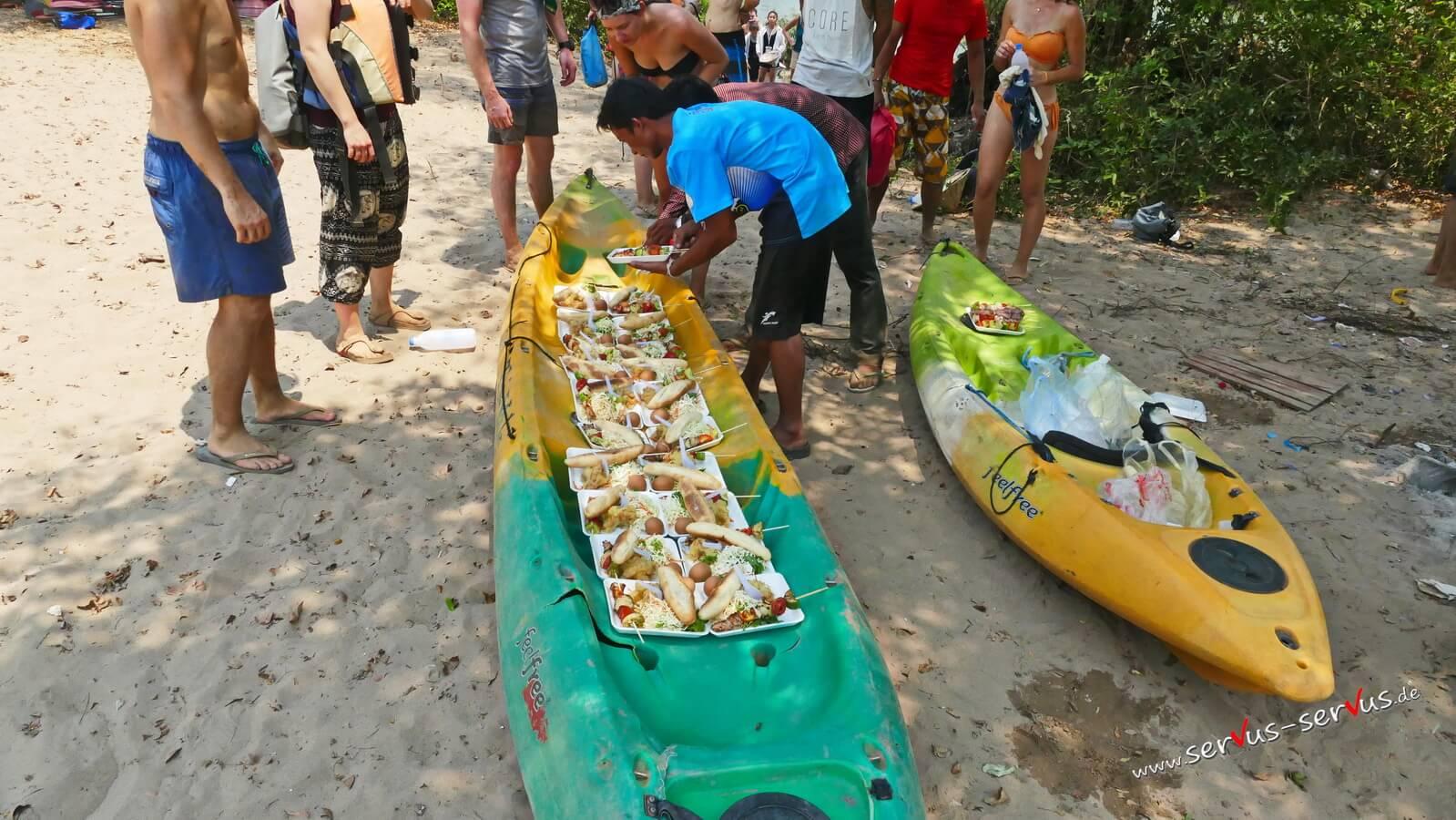 Don Khone, Mekong, Laos, Mittagessen, Kajakfahrt