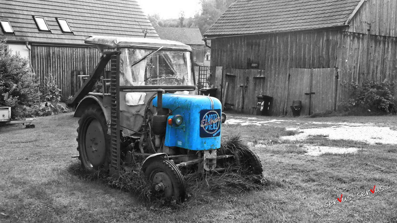 Blauer traktor, colorkey