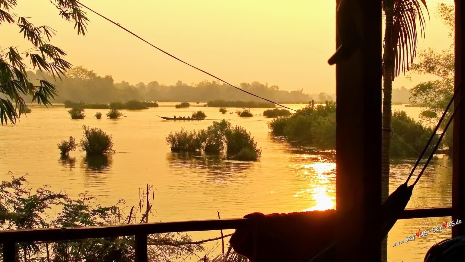 Sonnenaufgang, Mekong, Don Det, Laos