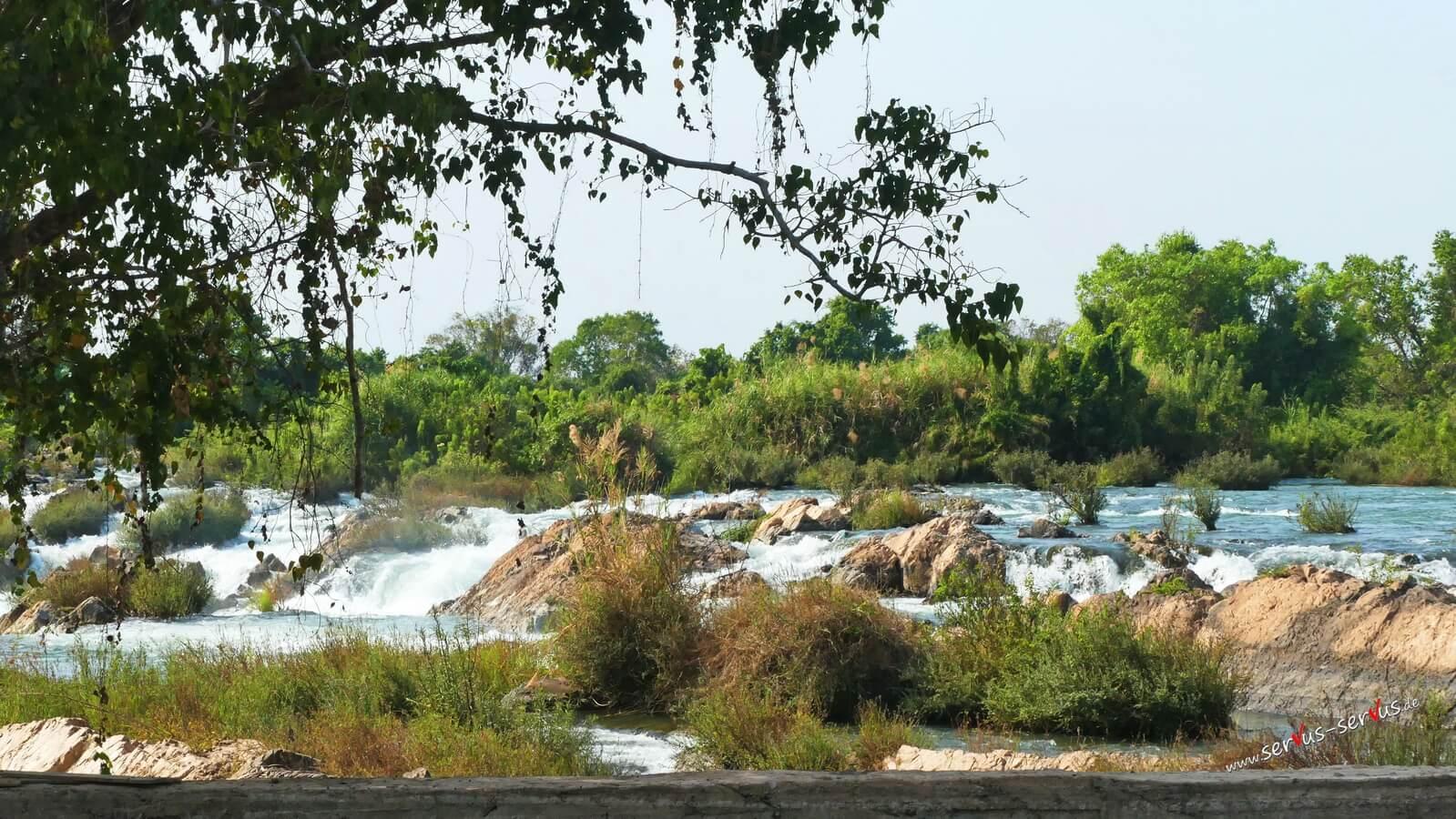 Wasserfall, Laos, Don Det, Mekong, Li Phi Falls oder Tat Somphamit Waterfalls